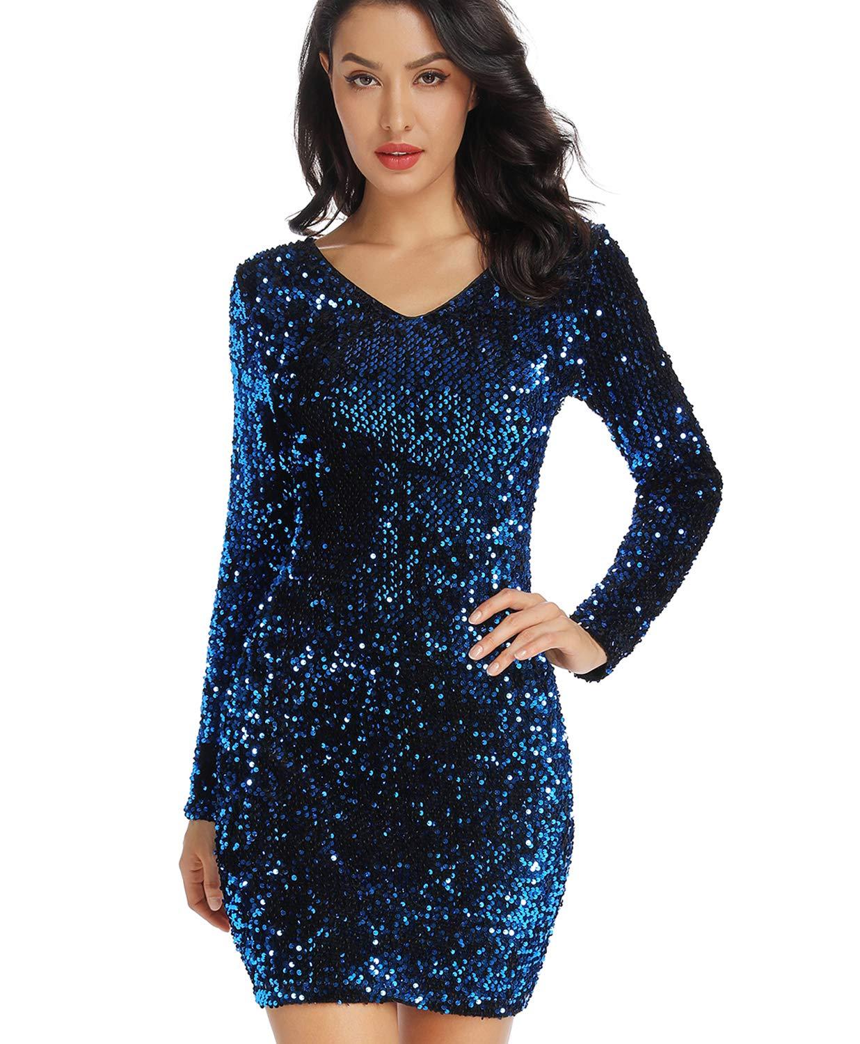 Available at Amazon: LLmansha Women's Sparkle Glitzy Glam Sequin V Neck Long Sleeve Flapper Party Club Dress