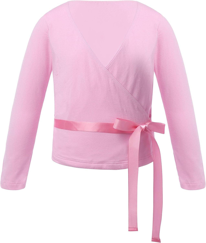 Agoky Kids Girls Long Sleeves V Collar Wrap Cardigan Tops Ballet Dancewear Gymnastics Activewear