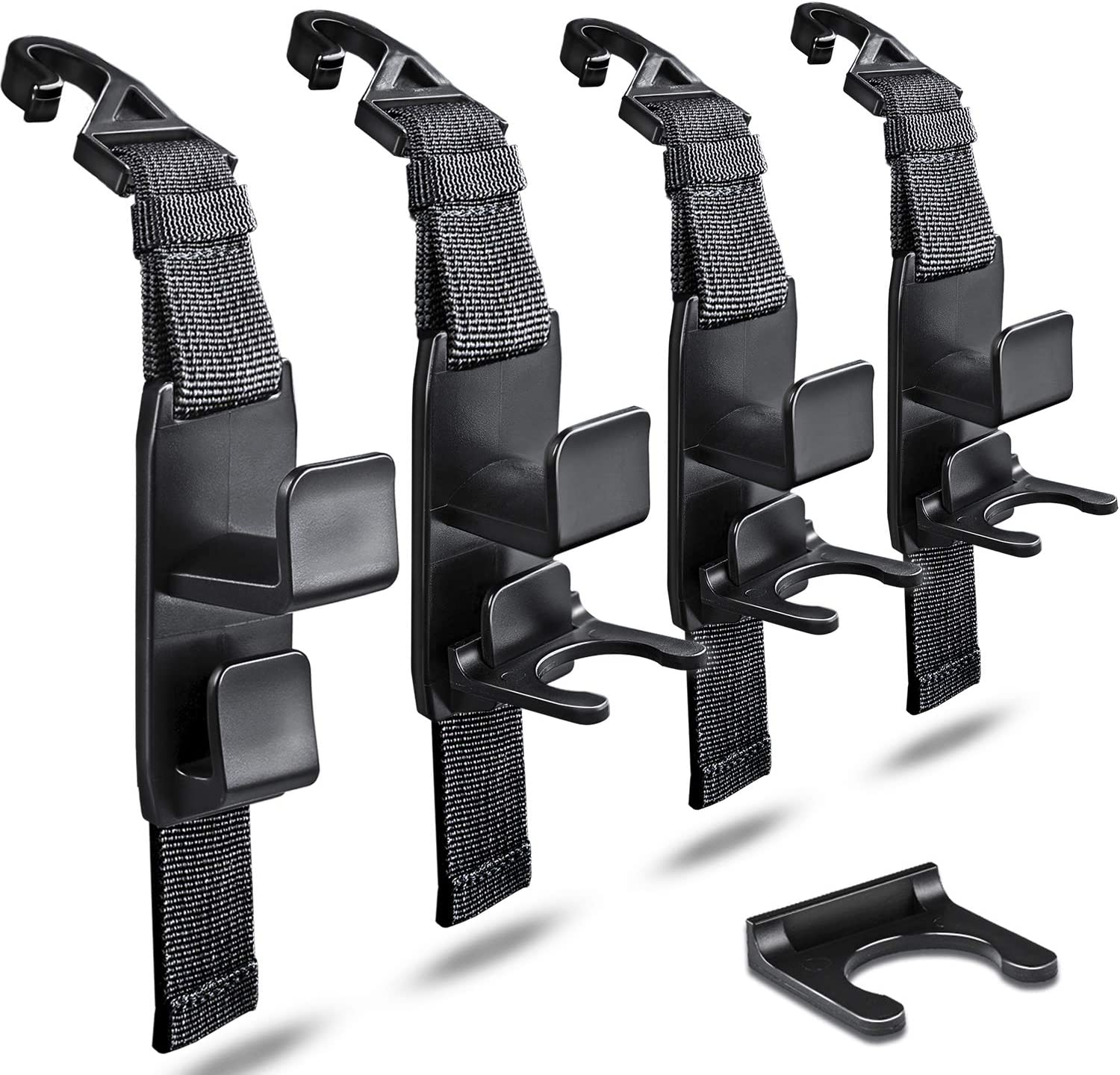 Frosted Black Heroway matteblack Magic Hanger Headrest Holder Organizer Behind Over The Seat Car Hooks-Hang Purse Grocery Bags-4Pack