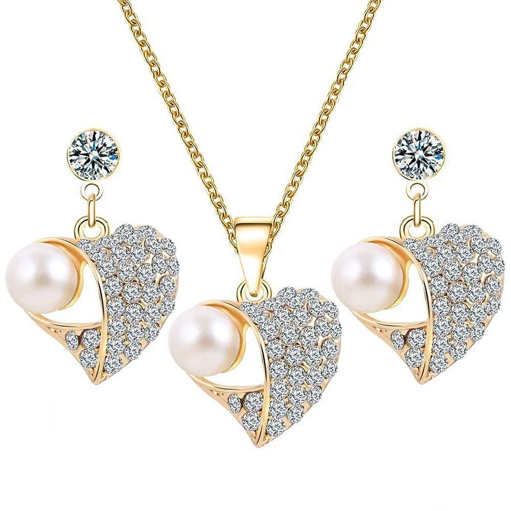 派手マザーランド同等のTivollyff ハート形の真珠ジュエリーセーターネックレスイヤリングセットジュエリーギフト用女性セーターチェーンペンダント