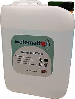 Waternation Agua desionizada de 5 litros de Agua purificada de 5 etapas para Planchar, Pilas, humidificadores y Cualquier Proceso Sensible al Agua.