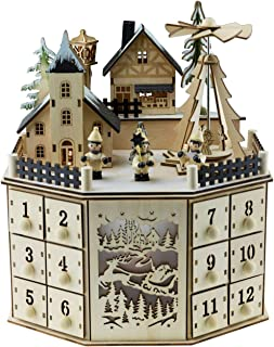 Clever Creations Traditional LED Wooden Advent Calendar Decoration | Festive Christmas Village Design with 24 Drawers | LED Christmas Lights and Rotating Angels in Christmas Tree | Battery Operated