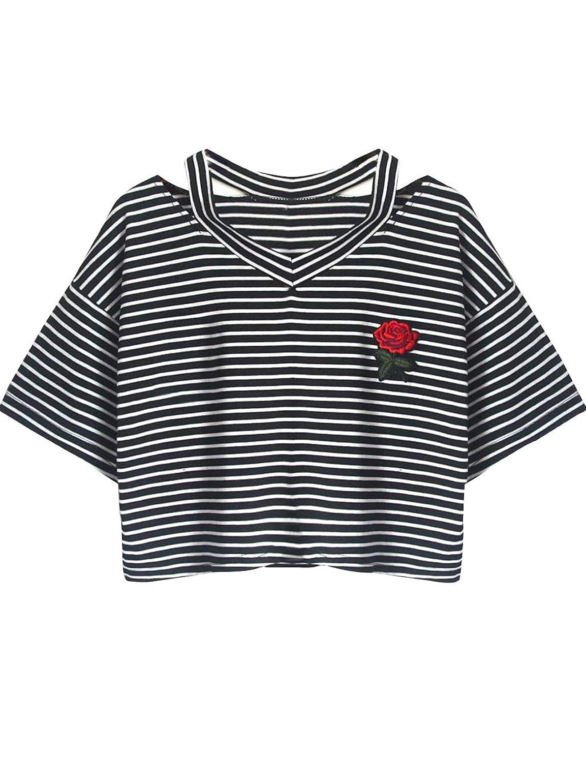 Women Teen Girls Striped Cute Crop Top Tie up Knot Belly Shirt Summer Tee T-Shirt Blouse Sale