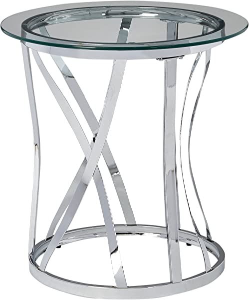 Simmons Upholstery Casegoods 7314 47 RND Metal Glass TBL Chrome Round End Table