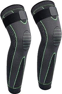 Full Leg Compression Sleeve Men's Stretch Long Leg Sleeve Compression Knee Pads Running Basketball Football Riding 1 Pair...