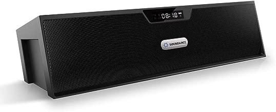 Soundance FM Radio Wireless Bluetooth Speaker Alarm Clock, Portable Radio Speaker with Digital LED USB Rechargeable for Office Desk Home Bedroom Bedside Desktop Computer, SDY019 Black