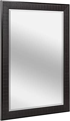 Head West Luxury Rustic Textured Framed Wall Mirror with Beveled Edge | Vintage Art Wall Hang Perfect Frame for Vanity, Bedroom and Bathroom, Horizontal and Vertical Mount - Brown 27.5 x 33.5 inch