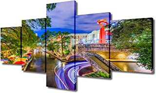 5 Pieces Wall Art Painting American Cityscape, San Antonio Alamo Canal River Walk Street Print On Canvas the Picture City ...
