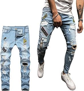 Geagodelia Jeans Strappati Uomo Stretti Pantaloni in Denim Slim Fit Vita Alta Jeans Uomo Elasticizzati Ricamo Casual Hip-H...