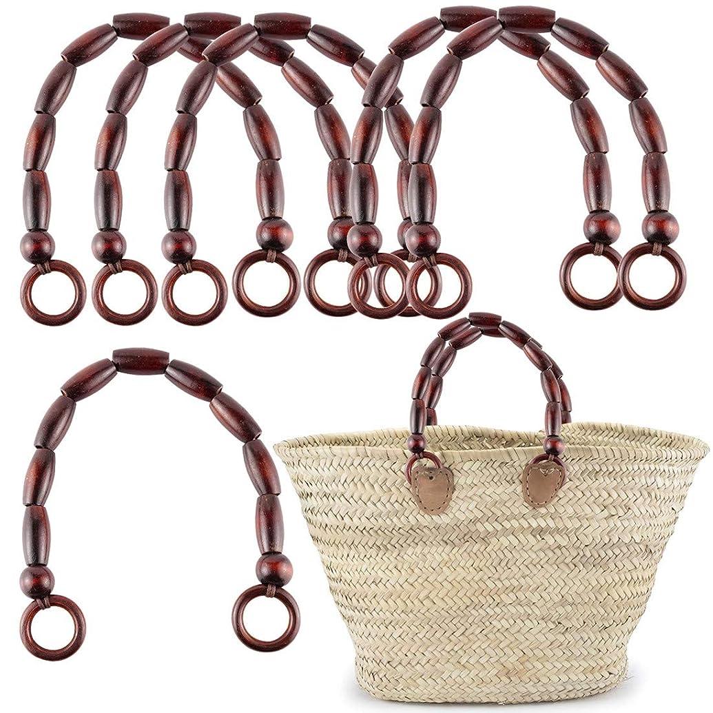 6Pcs Wooden Beaded Handles Replacement for Handmade Bag Beach Bag Handbags Straw Bag Purse Handles