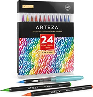 ARTEZA Real Brush Pens, 24Colors for WatercolorPainting withFlexible Nylon BrushTips,..