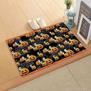 Doormat for Outdoor Indoor Front Door Entrance Kitchen 20''x39'', Halloween Ghost Pumpkin Carving Black Spider Web Durable...