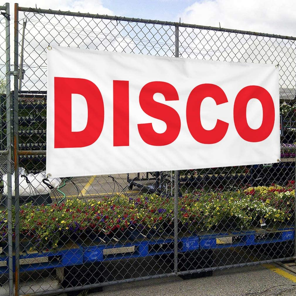 Vinyl Banner Multiple Sizes Disco Red Business Outdoor Weatherproof Industrial Yard Signs 8 Grommets 48x96Inches