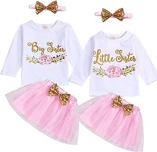SEVEN YOUNG Kids Newborn Baby Girls Sister Outfits Floral Print T-Shirt Top+Tutu Skirt Set Dress Fall Clothes