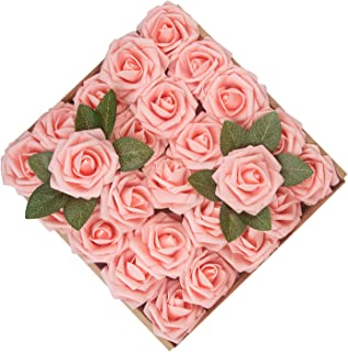 Umiss Dinopure Wedding Bouquet 50pcs Artificial Flowers White Real Touch Artificial Roses for Bouquets Centerpieces Wedding Party Baby Shower DIY Decorations (Peach Pink)