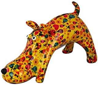 Pomme Pidou | skarbonka ceramiczna | pies Elvis | Medium | Żółta | Ceramiczna skarbonka z otworem na monety i bardzo piękn...