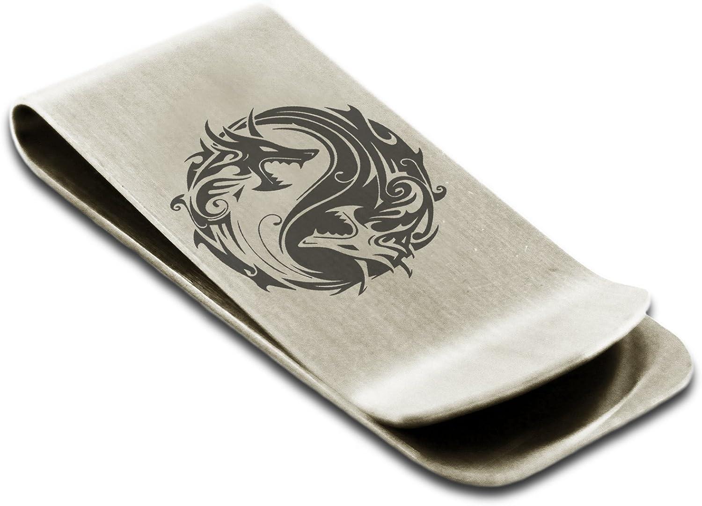 Stainless Steel Tribal Dragon Yin Yang Symbol Money Clip Credit Card Holder