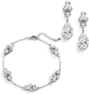 Mariell CZ Bridal Bracelet & Matching Earrings, Wedding Jewelry Set with Adjustable Bracelet 7 ¼