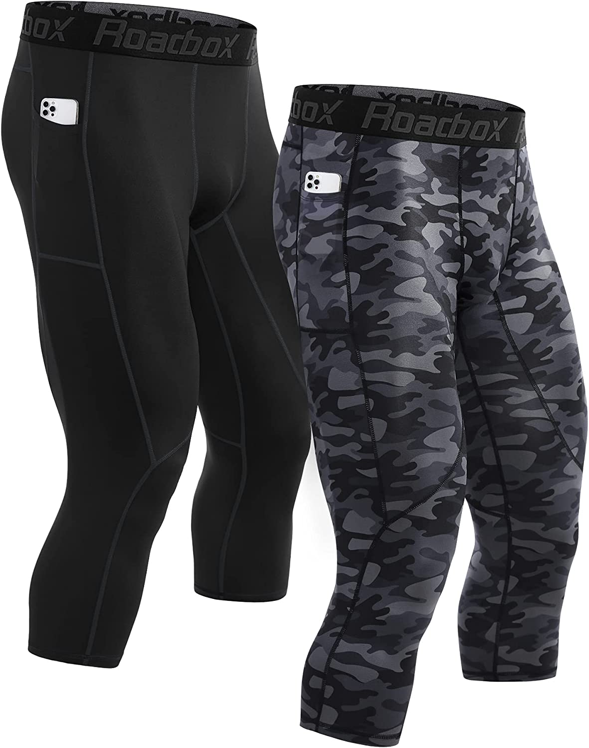 Roadbox Popular brand Mens 3 4 Compression Pants Running famous Lay with Base Pockets