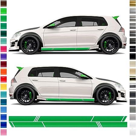Auto Dress Seiten Streifen Aufkleber Set Dekor Golf Streifen In Wunschfarbe 180 X 21cm 110 Black Gloss Auto