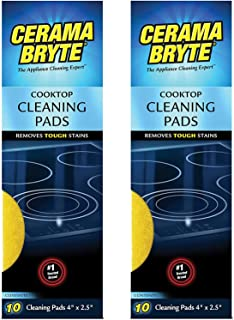 Cerama Bryte Glass-Ceramic Cooktop Cleaning Pads for Stubborn Stains, 20 Count