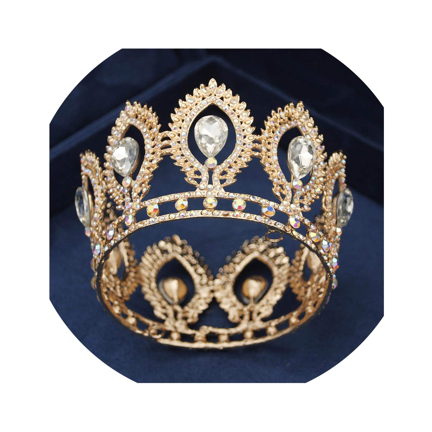 Gold/Silver Crystal Tiaras Baroque Round Crown Classic Royal Queen King Crowns Diadem Prom Wedding Hair