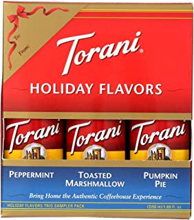 Torani Holiday All NEW Flavors Mini 3-pack ~ Peppermint, Toasted Marshmallow, and Pumpkin Pie ~ (1.69 fl oz)