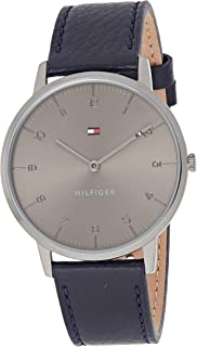 Tommy Hilfiger 1791583 Mens Quartz Watch, Analog Display and Leather Strap, Grey