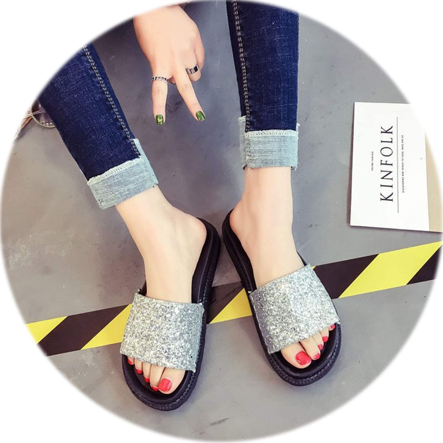 Peony red Hot Summer Women Slippers Rhinestone Bling Slides Flat Soft Home Flip Flops Female Sparkling Crystal shoes Beach Sandals