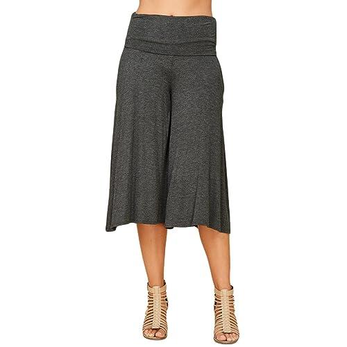 729aa49ba8a Annabelle Women s Fold Over Waist Wide Leg Culotte Gaucho Capri Pants