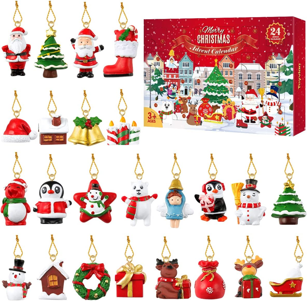 TOYANDONA Advent Calendar 20,20 Piece Christmas Countdown Calendar  Decoration Gift Box for Christmas Tree ,Mini Resin Christmas Ornaments
