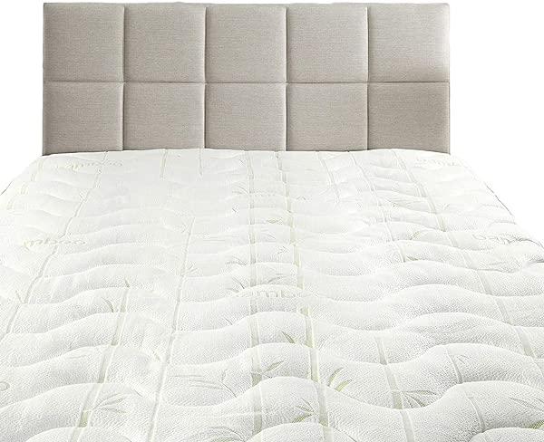 Sheetsnthings Waterproof Bamboo Jacquard Twin Mattress Topper White