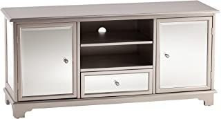 Southern Enterprises Mirage Mirrored TV & Media Stand - Mirror Surface w/Faux Crystal Knobs - Glam Style