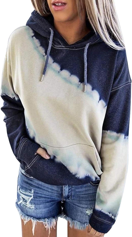 Diukia Women's Tie Dye Color Block Long Sleeve Hoodies Pullover Drawstring Pullover Sweatshirt Tops