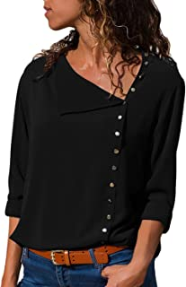 GLUDEAR 女式长袖纽扣细节宽松版型雪纺衬衫纯色上衣 S-XXL