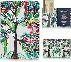 FUNUT PU Leather Passport Holder Cover Case Travel Passport Cards Carrier Wallet Case - Happy Tree