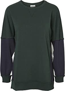 NOISY MAY Pom Block Panel Sweatshirt Womens Sweater Green Long Sleeve Outerwear