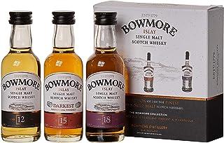 Bowmore Whisky Geschenkset Mit 12 Jahre, 15 Jahre und 18 Jahre, 3 x 0,05l, 3er Pack