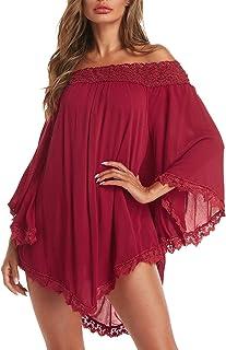 ZANZEA Women Sexy Off Shoulder Blouses Loose Mini Dress Summer Beach Tunic Cover Up Shirt