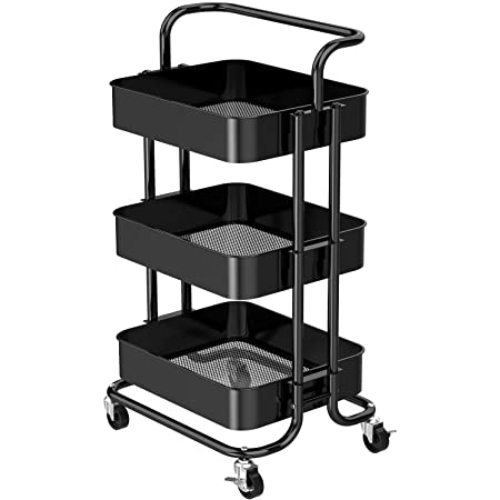 3 Tier Rolling Utility Cart with Wheels Multifunctional Metal Storage Cart Organizer Adjustable Trolley Cart with Handle for Home, Kitchen, Office, Bathroom, Bedroom by FURNINXS
