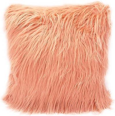 Amazon.com: Carice Rosa Pastel Furry Throw almohada (S ...