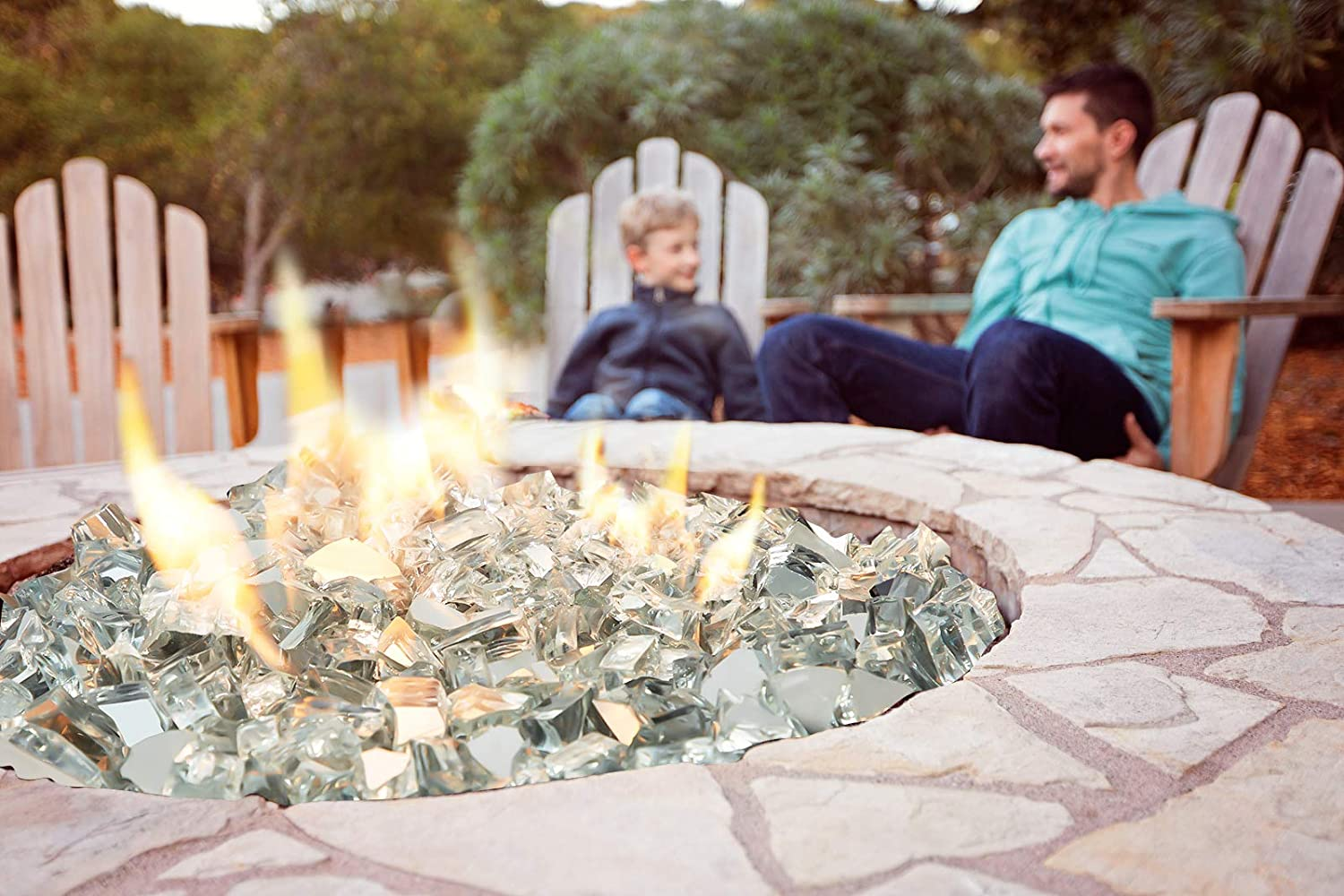 Cobalt Clear Reflective Clear U-MAX 10-Pound Reflective Fire Glass 1//2-inch Crushed Glass Lava Rocks for Polygon Fire Pit Fireplace Landscaping