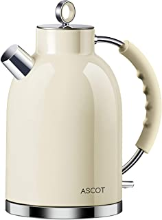 Electric Kettle, ASCOT Stainless Steel Electric Tea Kettle, 1.7QT, 1500W, BPA-Free, Cordless, Automatic Shutoff, Fast Boil...
