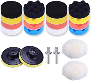 JUSTTOP Car Foam Drill Polishing Pad Kit 22 PCS, 3-inch Sponge Pad Kits with Different Shapes and Hardness, Wool Polishing...
