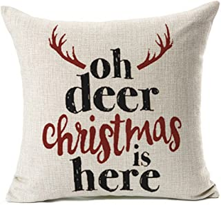 Deer Christmas Is Here Throw Pillow Case Cushion Cover for Sofa Couch Home Decorative Cotton Linen 18