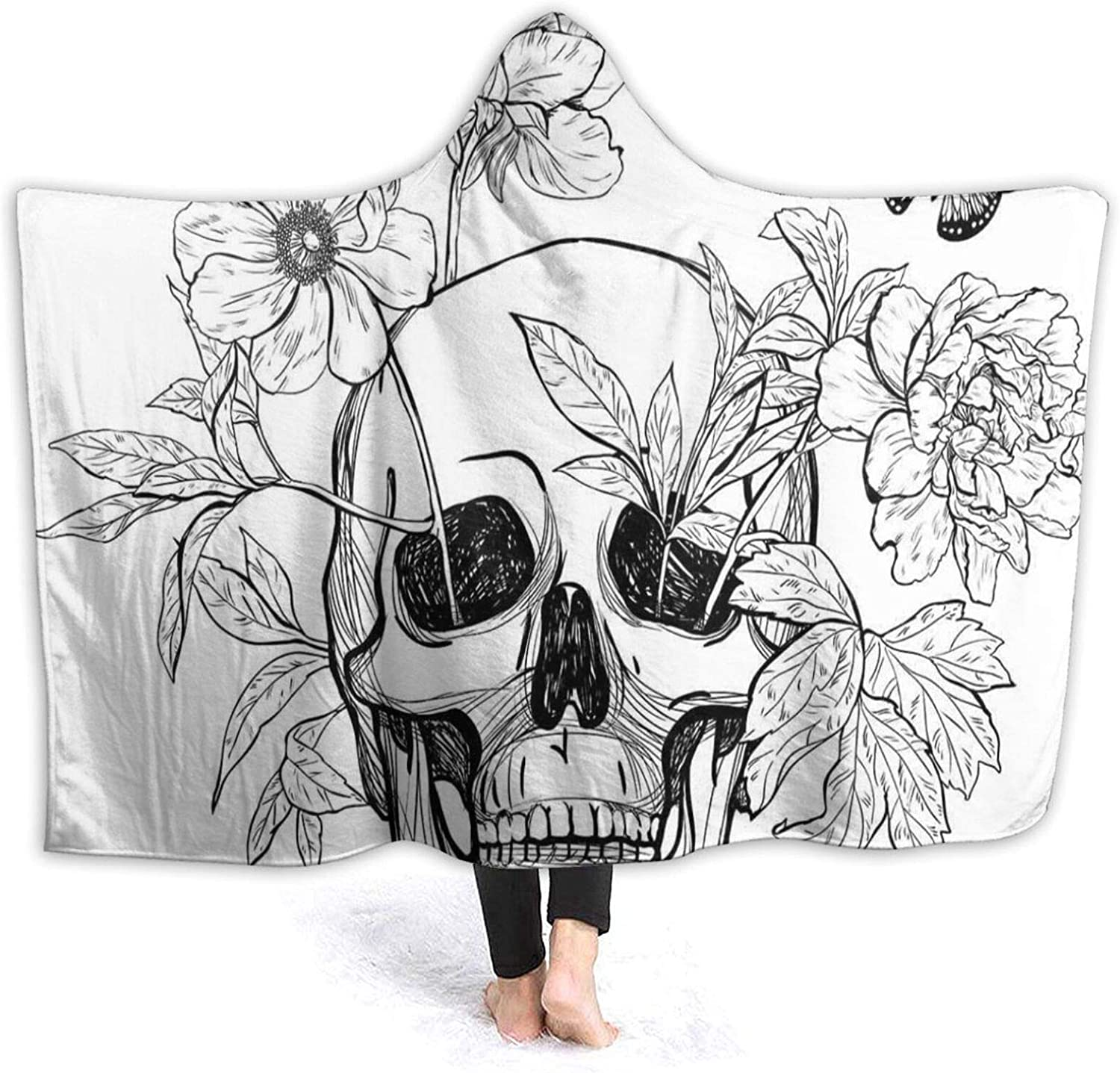 Max 42% OFF Hooded Blanket Anti-Pilling Flannel Skull shop and Blooms with Flower