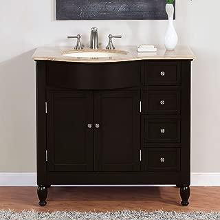 Silkroad Exclusive HYP-0902-T-UIC-38-L Off Center Single Left Sink Bathroom Vanity with Furniture Bath Cabinet, 38