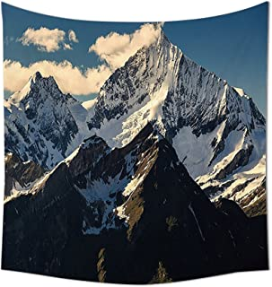 Lake House Decor Tapestry Snowy Mountain Summit Clouds in Sky Tranquility in Wild Nature Theme Wall Hanging for Bedroom Li...
