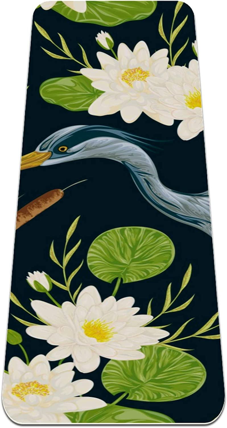 Yoga Mat Heron Regular discount Bird Water Lily Bulrush Extra Safety and trust Reversible and Th