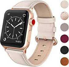 SWEES Leather Band Compatible for iWatch 38mm 40mm, Genuine Leather Replacement Strap Rose Gold Buckle Compatible iWatch S...
